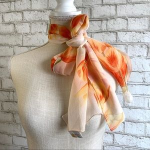 MADE IN ITALY Floral Faux Silk Scarf